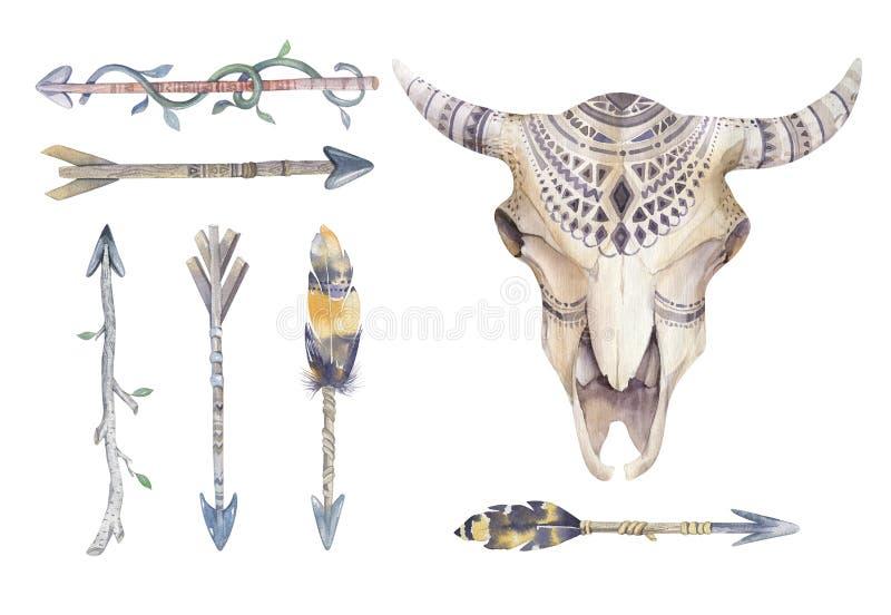 Akwareli krowy czaszka z kwiatami i piórkami Boho plemienny styl royalty ilustracja