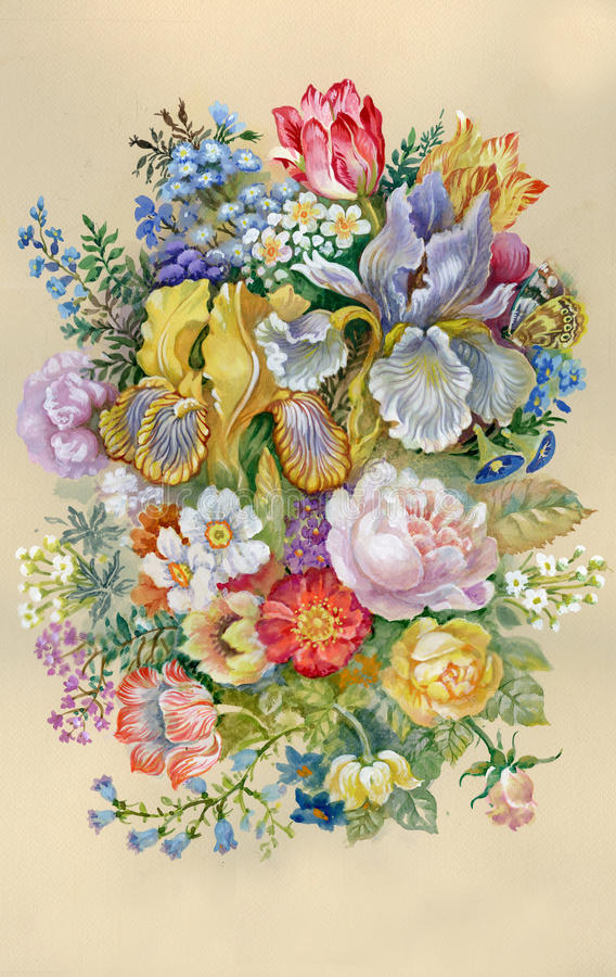Akwareli Kwiatu Kolekcja: Kwiat royalty ilustracja