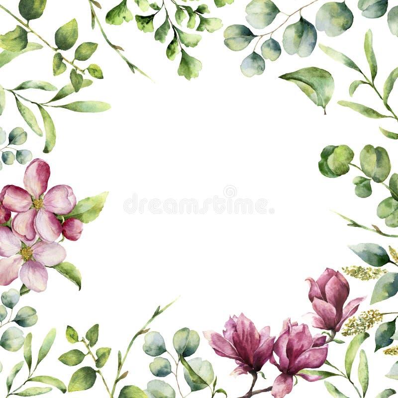 Akwareli kwiecista rama z ziele i kwiatami Ręka malująca rośliny karta z eukaliptusem, paproć, wiosny greenery rozgałęzia się ilustracji