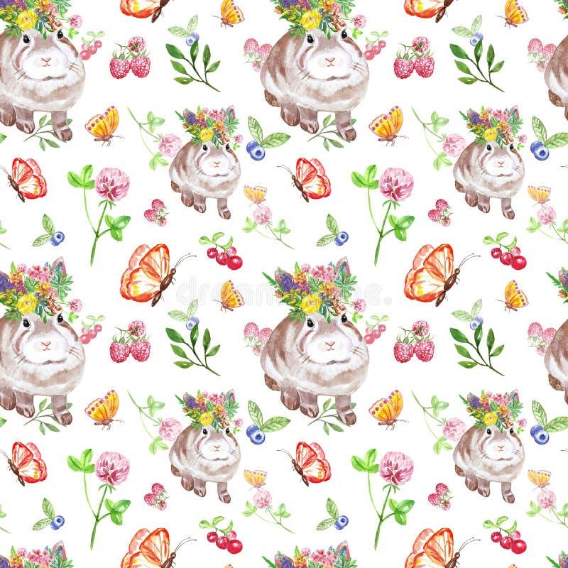 Akwareli lata bezszwowy wzór z królikiem, jagodami i wildflowers dziecka, Ręka rysujący królik i motyli druk na bielu ilustracji