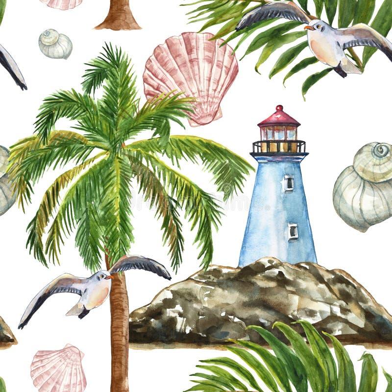 Akwareli lata morski druk Nautyczny bezszwowy tupocze z latarnią morską, wyspa, drzewko palmowe, seagull, tropikalny liść na biel ilustracja wektor