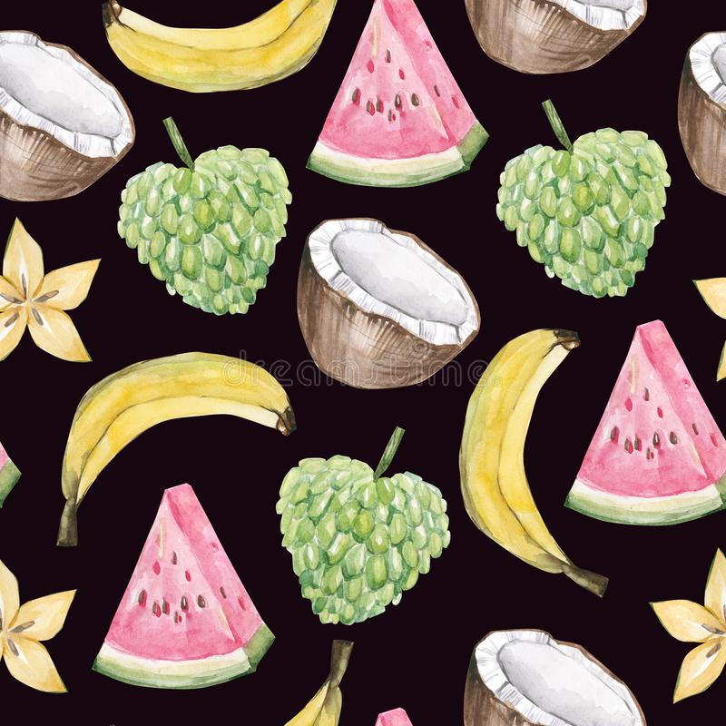 Akwareli lata owoc egzotycznego wzoru tropikalne owoc Ręka malujący egzotyczni koktajle na białym tle Cherinmoya, arbuz, royalty ilustracja