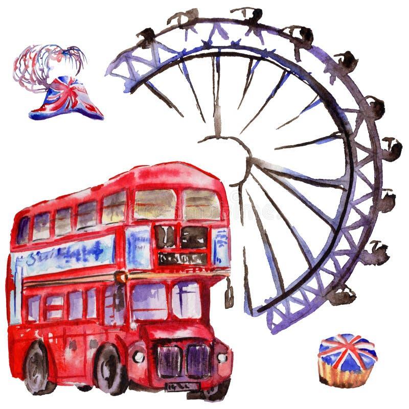Akwareli Londyn ilustracja Wielka ręka rysujący Brytania symbole Brytyjski autobus royalty ilustracja