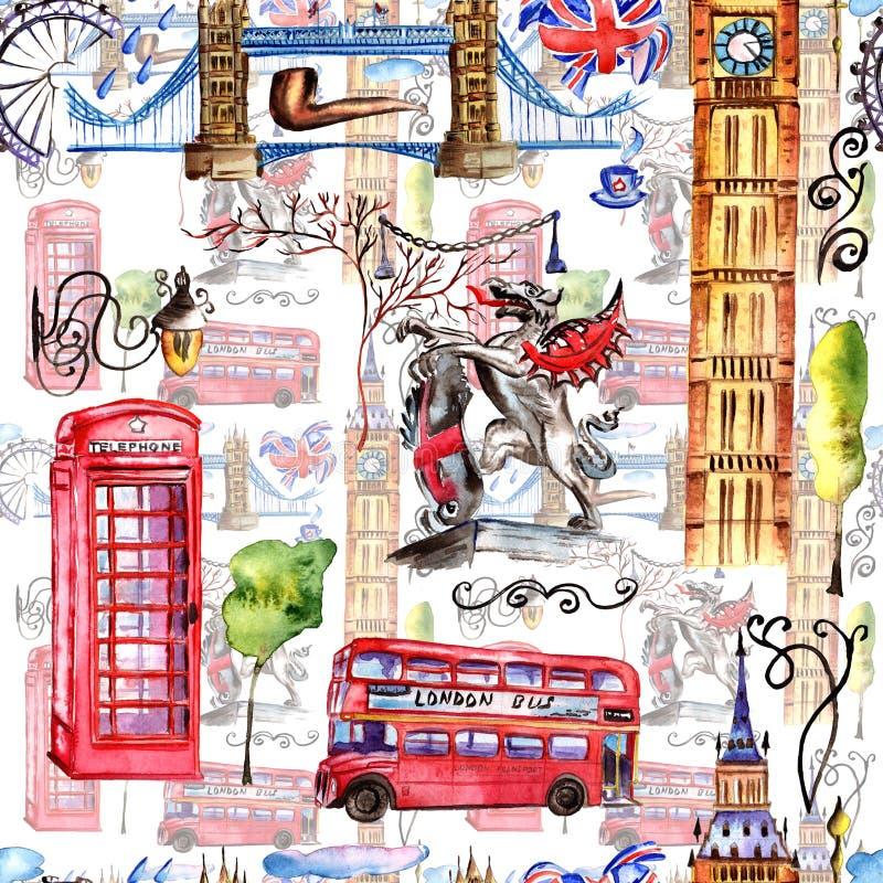 Akwareli Londyn wzoru ilustracja Wielka ręka rysujący Brytania symbole royalty ilustracja