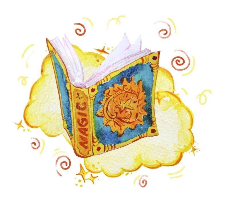 Akwareli magiczna ilustracja z ręka rysującymi artystycznymi elementami odizolowywającymi na białym tle - otwarta czary książka,  ilustracja wektor