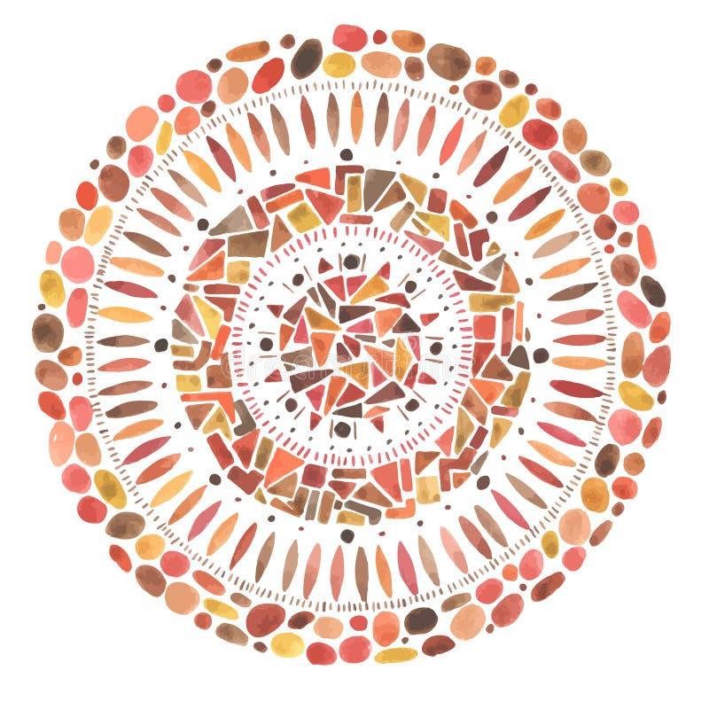 Akwareli mandala mozaiki ręka rysujący czerwony ornament ilustracja wektor