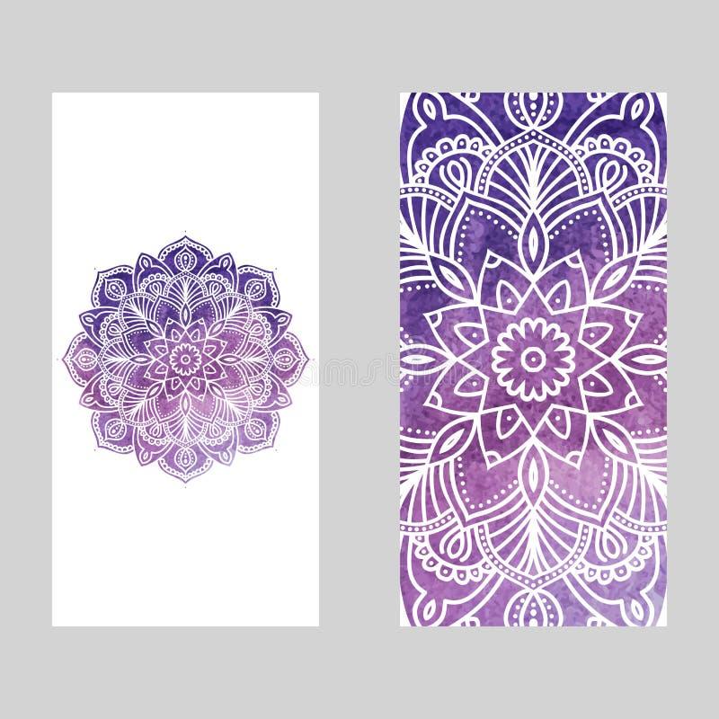 Akwareli mandala round geometryczny ornament, kółkowy abstrakta wzór R?ka rysuj?cy dekoracyjny wektorowy projekta element royalty ilustracja