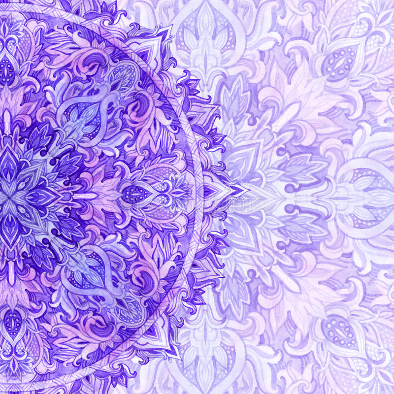 Akwareli mandala Tradycyjna koronka w naturalnych kolorach royalty ilustracja