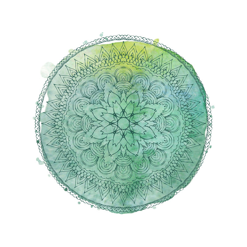 Akwareli mandala Wektoru odosobniony element ilustracji