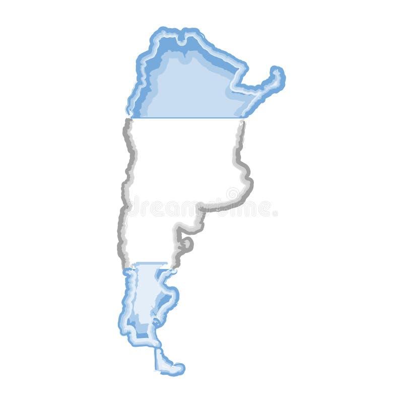 Akwareli mapa Argentyna z flagą ilustracji