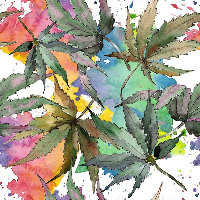 Akwareli marihuany zieleni liście Liść rośliny ogródu botanicznego kwiecisty ulistnienie Bezszwowy tło wzór ilustracji