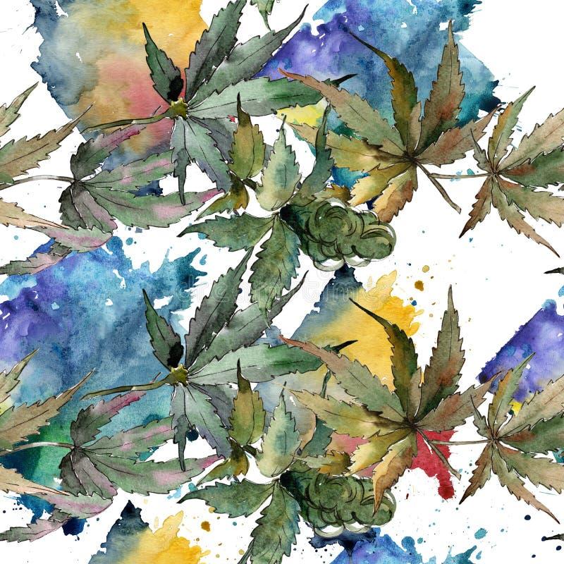 Akwareli marihuany zieleni liście Liść rośliny ogródu botanicznego kwiecisty ulistnienie Bezszwowy tło wzór ilustracja wektor