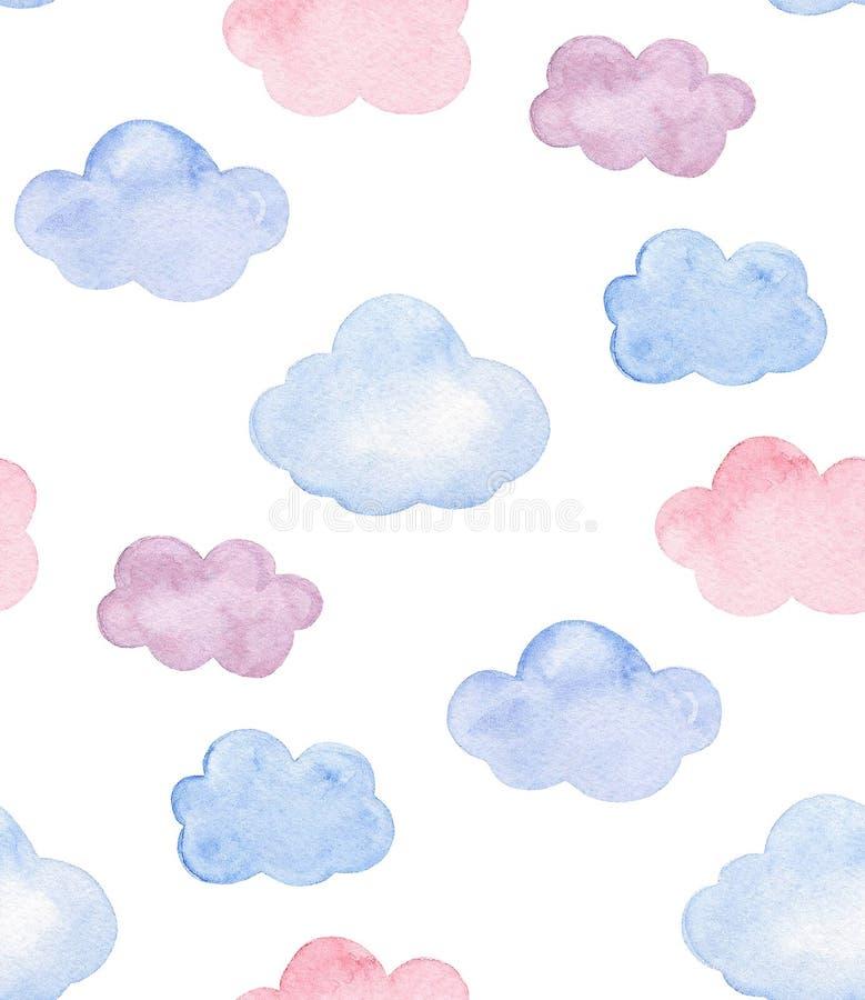 Akwareli menchii, błękita i purpur chmury, Dzieciaki i dziecko wzór ilustracja wektor
