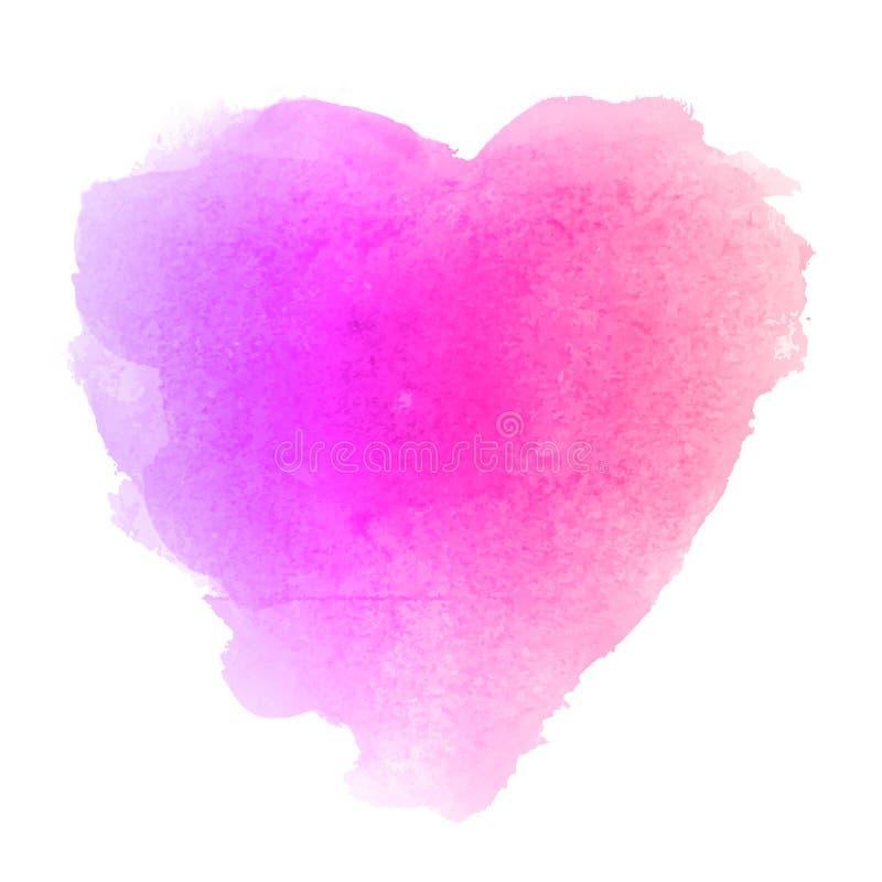 Akwareli menchii ręka rysująca serce kształtująca plama royalty ilustracja