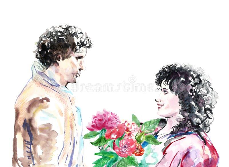 Akwareli miłości romantyczna para, valentines dnia ilustracja Młodzi człowiecy i kobiety ilustracja wektor