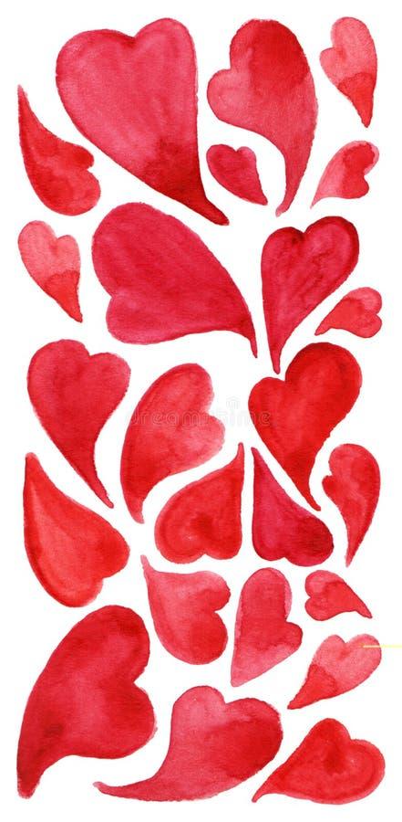 Akwareli miłości symbolu ikony czerwony kierowy set ilustracji