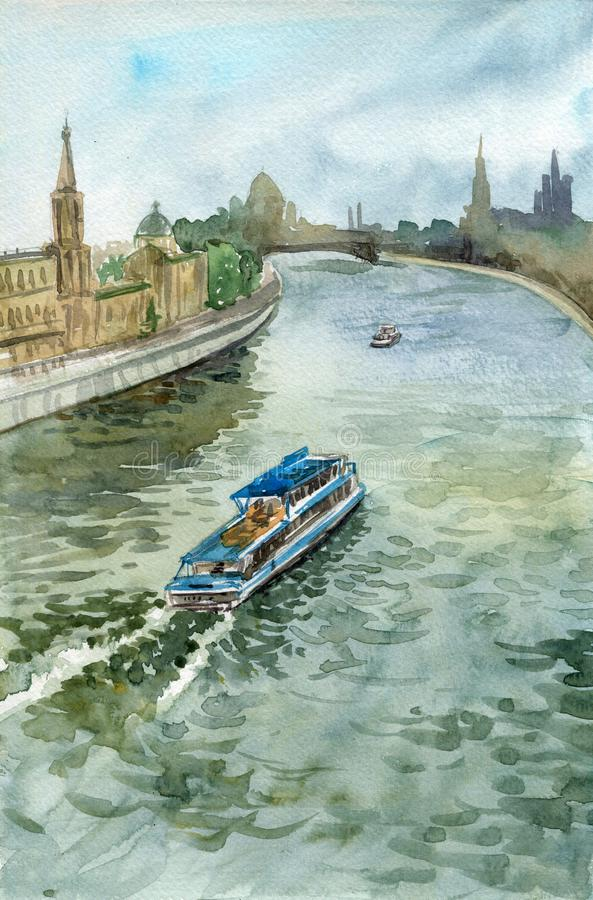 Akwareli miasta krajobraz z łodzią przy wodnym kanałem ilustracji