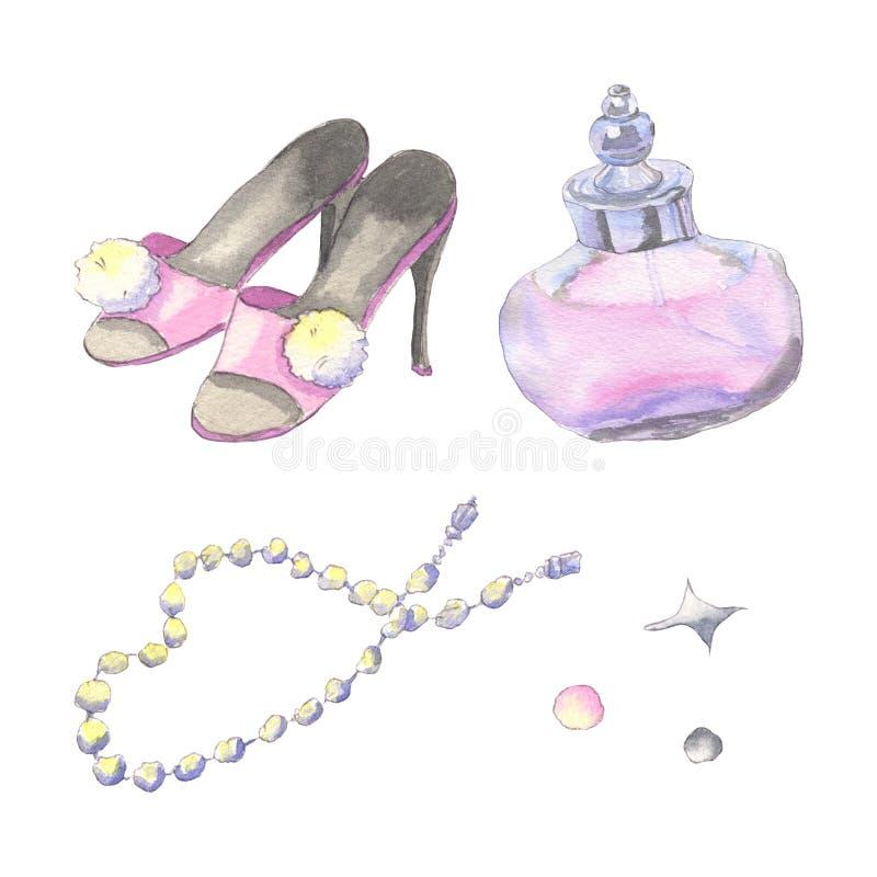 Akwareli mody akcesoria royalty ilustracja