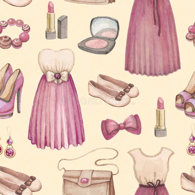 Akwareli mody bezszwowy wzór ilustracji