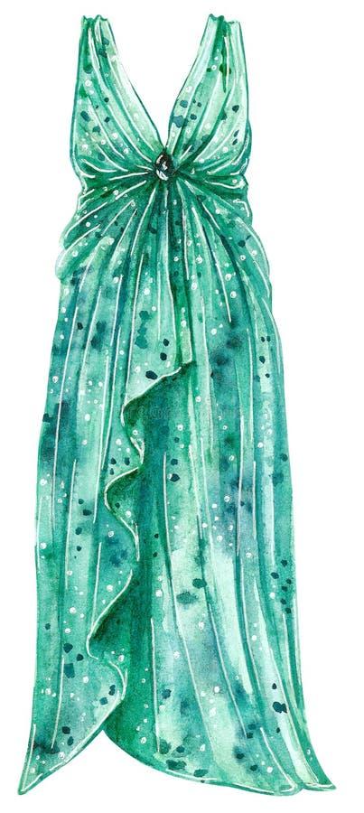 Akwareli mody ilustracja długa iskrzasta koktajl suknia w turkusowym kolorze ilustracja wektor