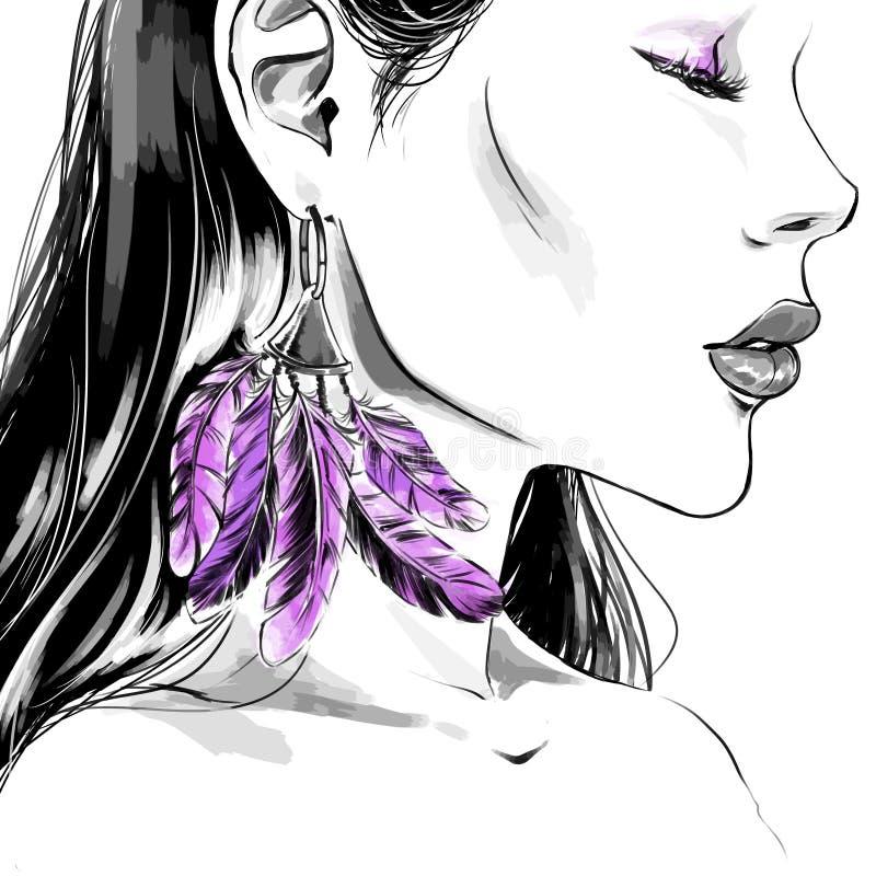 Akwareli mody ilustracja kobieta w okularach przeciwsłonecznych i purpl ilustracja wektor
