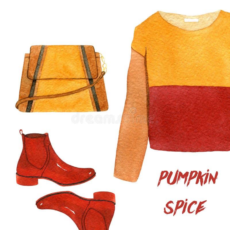 Akwareli mody ilustracja set modni jesieni akcesoria, cloves i dyniowa pikantność, bluza sportowa, buty i ilustracji