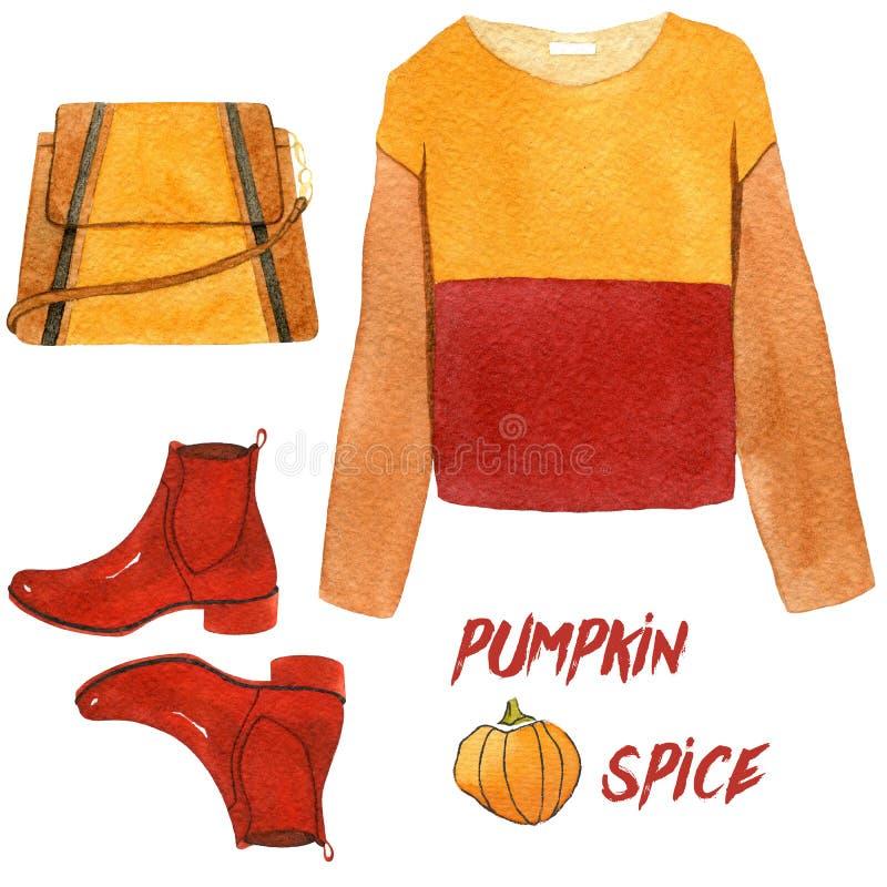 Akwareli mody ilustracja set modni jesieni akcesoria dyniowa pikantność, bluza sportowa, buty i torebka, royalty ilustracja