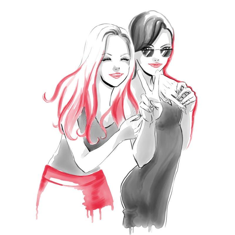Akwareli mody ilustracja z przytulenie dziewczynami royalty ilustracja