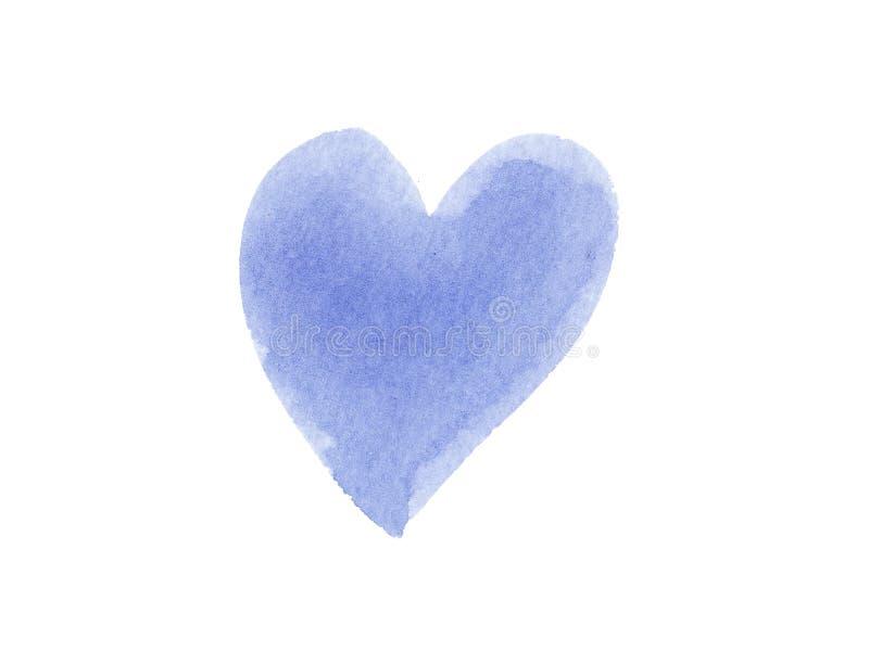 Akwareli Mokry błękitny tło z plamami szczotkarskiego uderzenia kierowy kształt odizolowywający na białym tle ilustracji