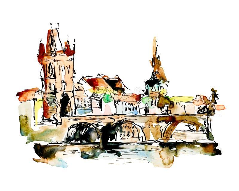Akwareli nakreślenia freehand rysunek Praga republika czech wierzchołek ilustracja wektor