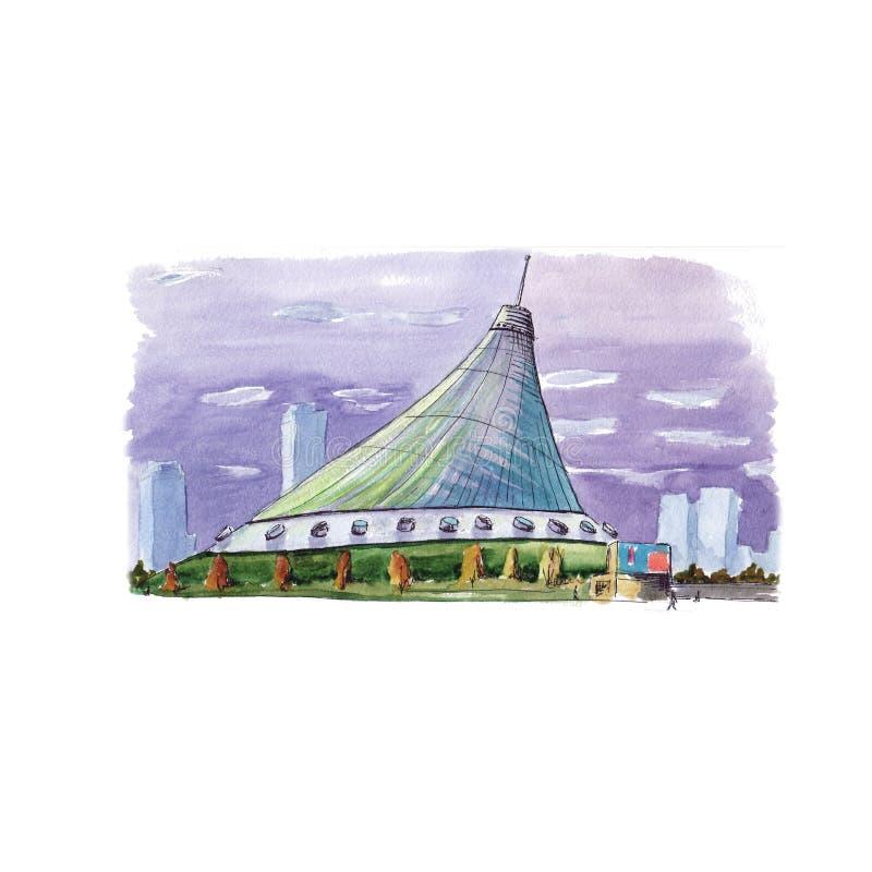 Akwareli nakreślenia Shater Khan centrum handlowe royalty ilustracja