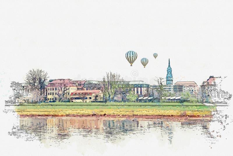 Akwareli nakreślenie lub ilustracja Piękny widok architektura Drezdeński na bankach Elbe rzeka ilustracji