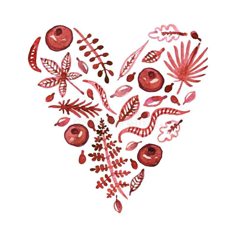 Akwareli natury wektorowy serce z liśćmi, garnets i inny, rośliny (Burgundy) Walentynka dnia tło i karta ilustracji