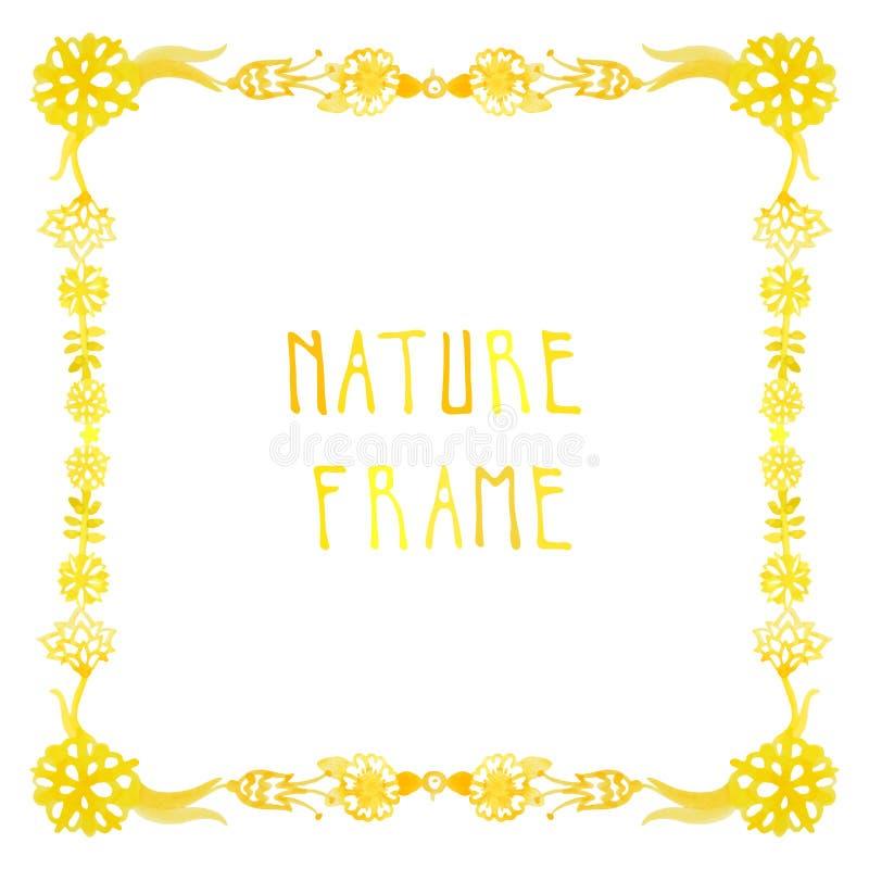 Akwareli natury wektoru rama z ręcznie pisany tekstem z kwiatami, jagodami i roślinami, ilustracji