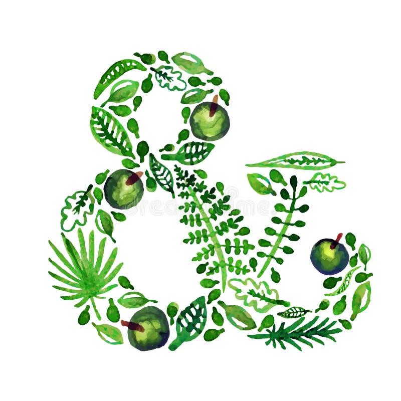 Akwareli natury wektoru zieleni ampersand z liśćmi, jabłkami i innymi roślinami, (zieleń) ilustracji