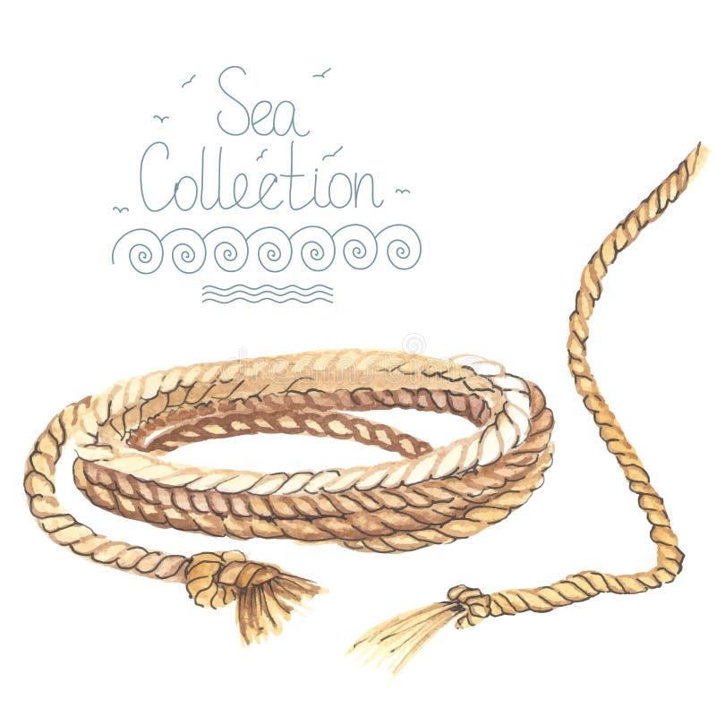 Download Akwareli nautyczna arkana ilustracja wektor. Ilustracja złożonej z sznurek - 57674277