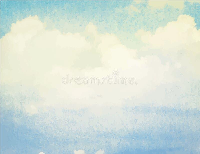 Akwareli niebieskie niebo i chmura Wiosna, lato ilustracja wektor