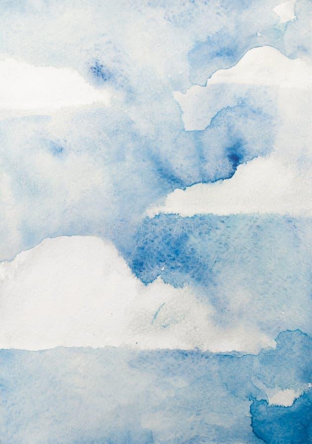 Akwareli niebieskie niebo z chmurami, niemy pionowo tło royalty ilustracja