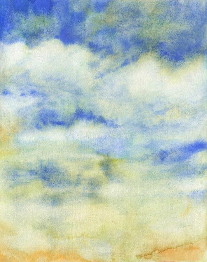 Akwareli niebo chmurnieje abstrakcjonistyczną teksturę obraz royalty free