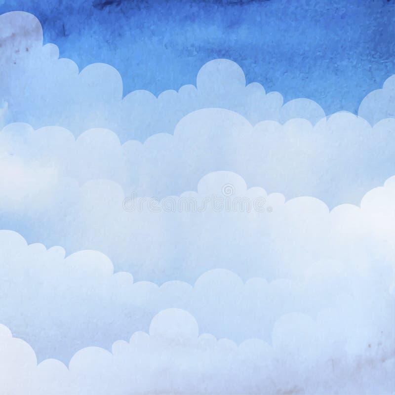 Akwareli niebo z chmurami royalty ilustracja