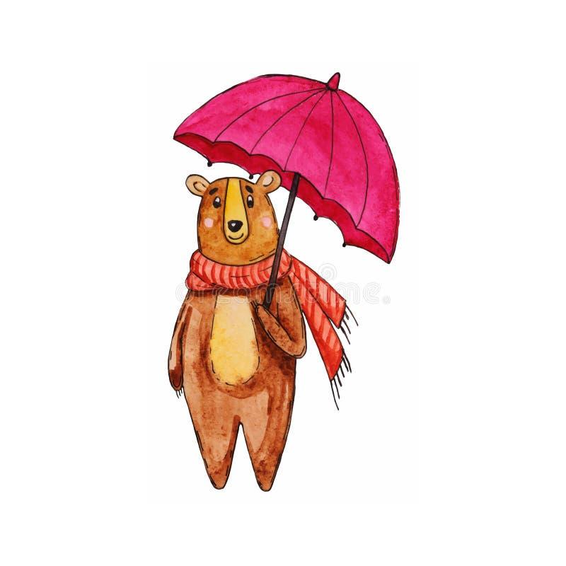 Akwareli niedźwiadkowa ilustracja Wygodny jesień niedźwiedź obraz royalty free