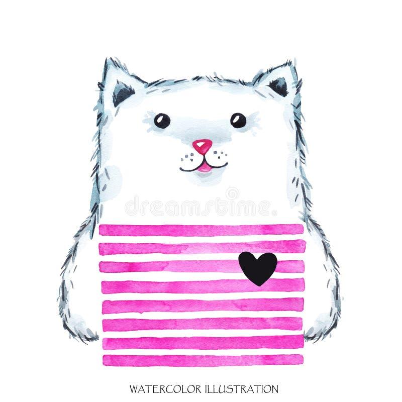 Akwareli nowożytna kiciunia w jaskrawej odzieży słodkie zwierzę kot dziecko kreskówki ilustracja Może drukujący na koszulkach royalty ilustracja