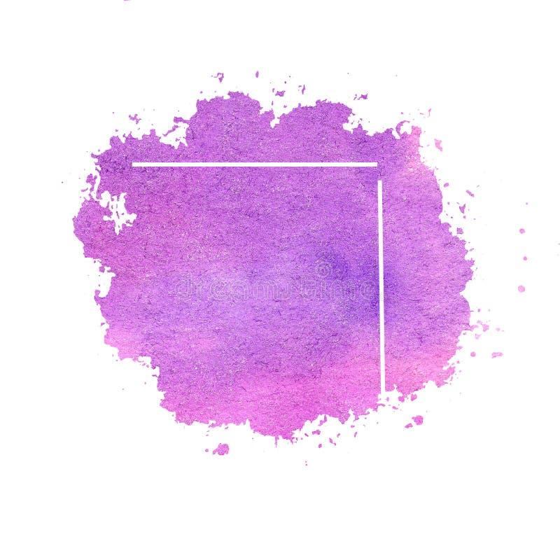 Akwareli obmycia punktu purpur jaskrawa ramowa granica zdjęcie royalty free