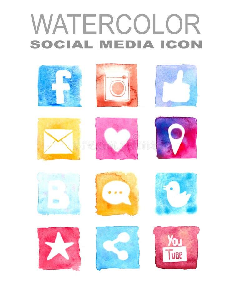 Akwareli ogólnospołeczna medialna ikona royalty ilustracja