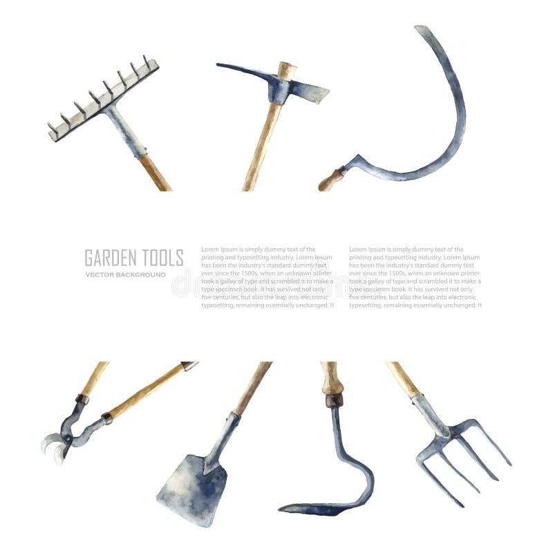 Akwareli ogrodowi narzędzia ustawiający ilustracja wektor