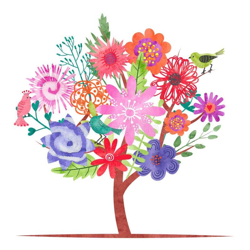 Akwareli okwitnięcia drzewo z abstrakcjonistycznymi kolorowymi kwiatami i ptakami ilustracji