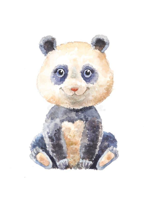 Akwareli panda odizolowywająca Dosyć śliczny zwierzę domowe Zoo ilustracja royalty ilustracja