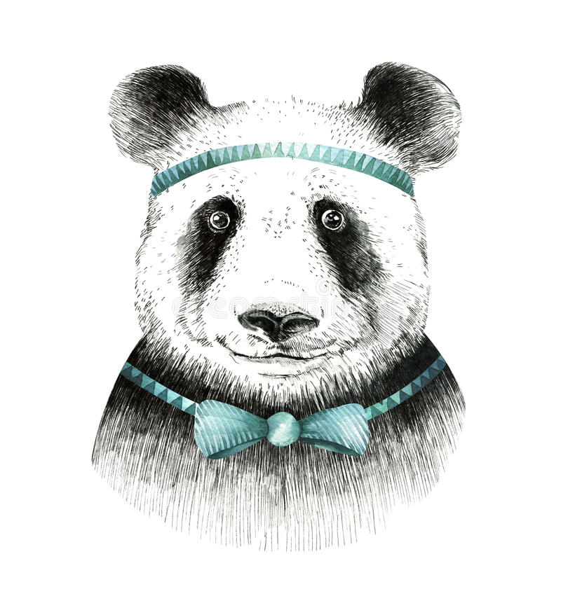 Akwareli pandy ilustracja Artystyczny śliczny zwierzę Boho styl royalty ilustracja