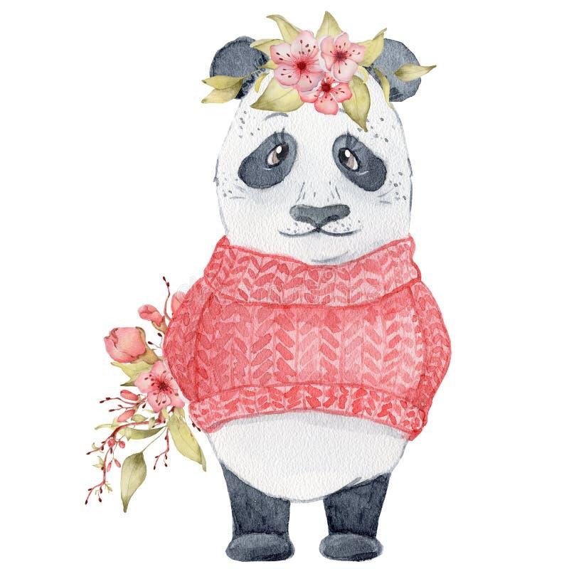 Akwareli pandy niedźwiedzia ilustracja z Sakura kwitnie wystroju Ślicznego zwierzęcia ilustracja wektor