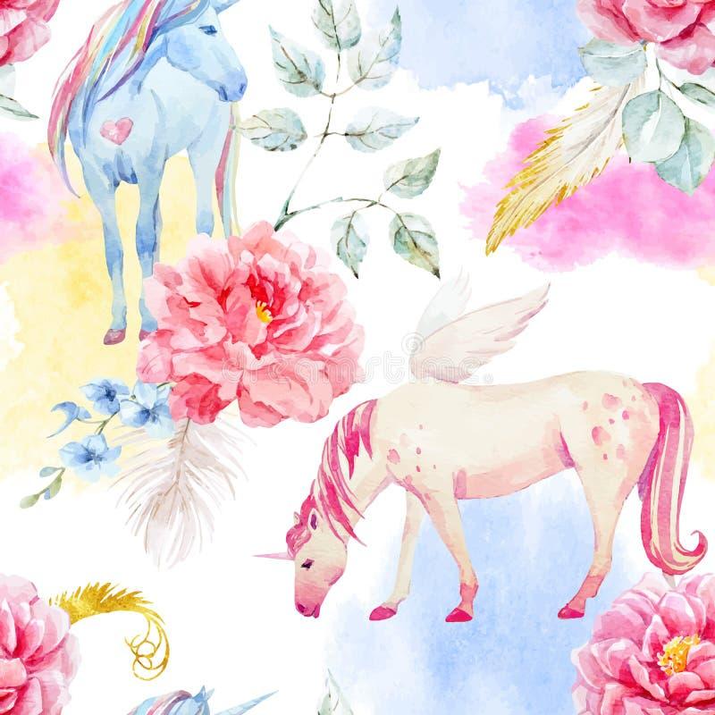 Akwareli Pegasus i jednorożec wektorowy wzór ilustracja wektor